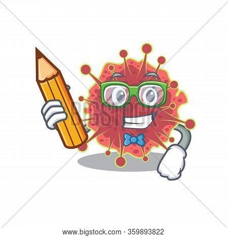 A Brainy Student Coronaviridae Cartoon Character With Pencil And Glasses