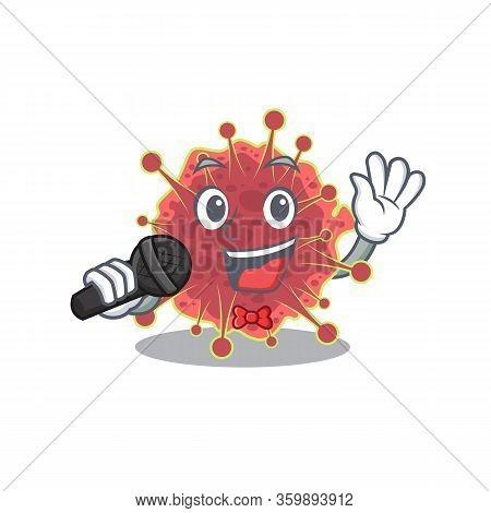 Talented Singer Of Coronaviridae Cartoon Character Holding A Microphone