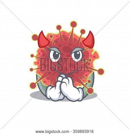 Coronaviridae Dressed As Devil Cartoon Character Design Style