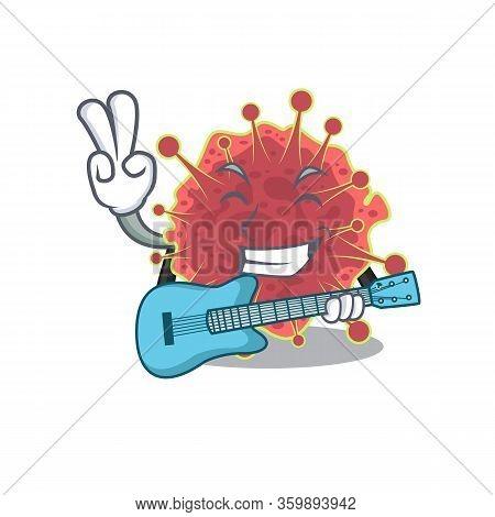 Talented Musician Of Coronaviridae Cartoon Design Playing A Guitar