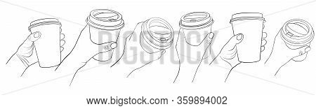 Hands With Disposable Coffee Cups, Line Drawing Isolated Symbols At White Background