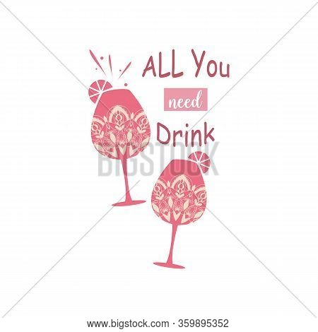 Two Elegant Mandala Style Glasses Design With Amarula And Angela For Party. Vector