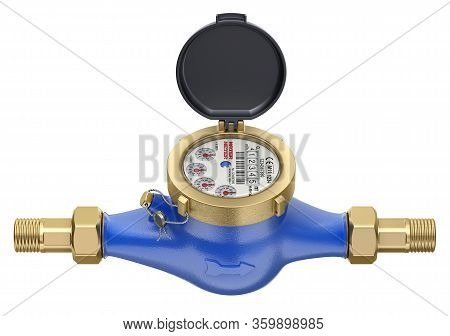 Water Meter Isolated On White Background - 3d Illustration