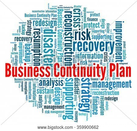 Business continuity plan in word collage