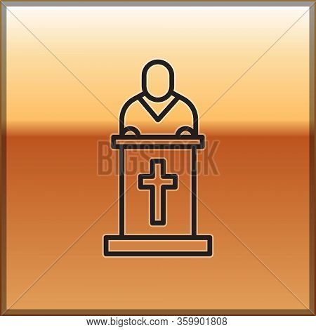 Black Line Church Pastor Preaching Icon Isolated On Gold Background. Vector Illustration