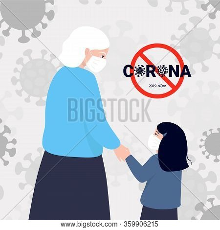 Granddaughter Supports Grandmother During A Pandemic. Risk Group. Vector Illustration Coronavirus 20