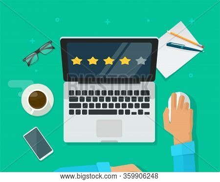 Review Rating Testimonials Online On Laptop Computer Workplace, Customer Evaluate Testimony Feedback