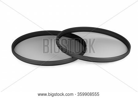 Two Slim Neutral Density Or Nd Filters Isolated On White Background (3d Model Rendered Illustration)