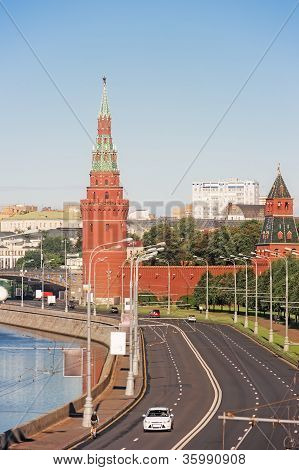 This photo was taken from the Big Bridge Moskvoretsky in Moscow poster