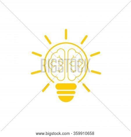 Light Bulb Icon, Light Bulb Icon And Brain With White Bacground. Bulb Image Ideas, Orange Lighting.