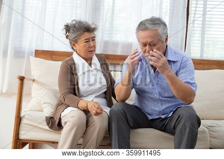 Elderly Stroke, Asian Elder Suffer From Stroke And Powerful Headache Or Brain Attack And Take Care F
