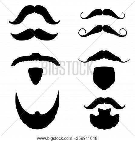 Vector Set Of Hipster Mustache. Mustache Icons. Fashion Dandy Hipster Beard, Barber Shop Signs. Blac