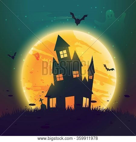 Haunted Hause Of Halloween In Front Of Moon Vector Design Illustration