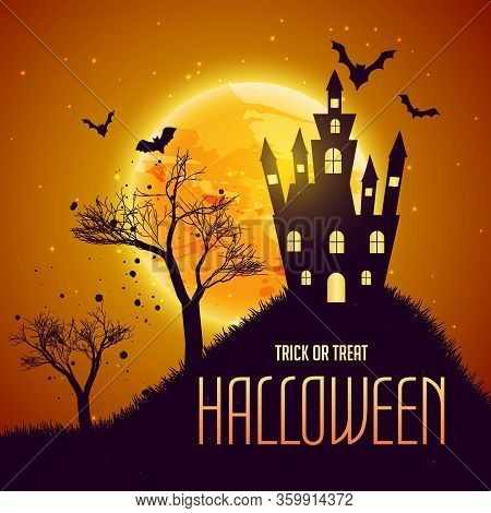 Halloween Celebration Background With Haunter House And Flying Bats
