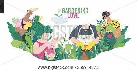 Gardening People, Spring - Modern Flat Vector Concept Illustration Of People In The Garden Wearing A