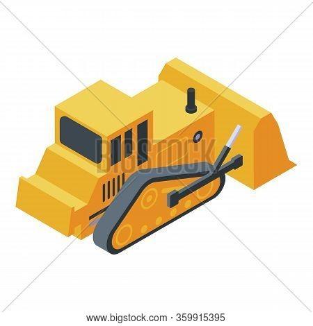 Bulldozer Machine Icon. Isometric Of Bulldozer Machine Vector Icon For Web Design Isolated On White