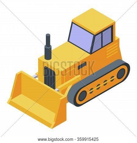 Cawler Tractor Bulldozer Icon. Isometric Of Cawler Tractor Bulldozer Vector Icon For Web Design Isol