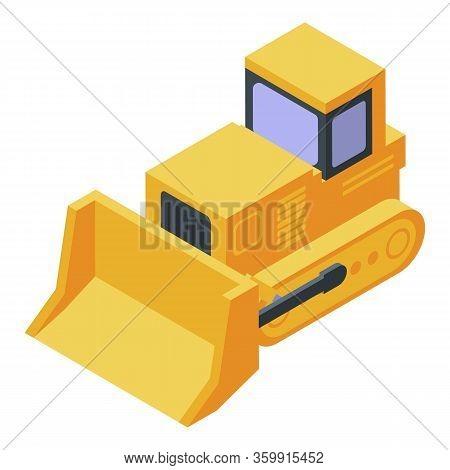 Yellow Tractor Bulldozer Icon. Isometric Of Yellow Tractor Bulldozer Vector Icon For Web Design Isol