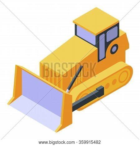 Bulldozer Cawler Machine Icon. Isometric Of Bulldozer Cawler Machine Vector Icon For Web Design Isol