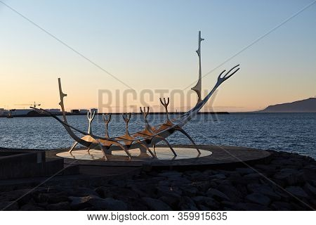 REYKJAVIK, ICELAND - CIRCA 2018: Sun Voyager, a metal sculpture on the shorlineof Reykjavik, designed by Jon Gunnar Arnason