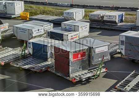 COPENHAGEN, DENMARK - MAY 13, 2016: Air cargo unit load devices at Kastrup international airport