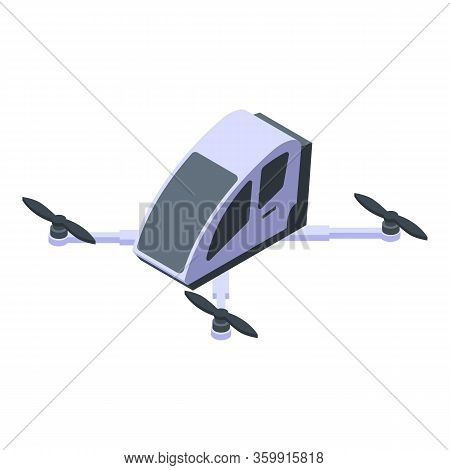 Futuristic Helicopter Icon. Isometric Of Futuristic Helicopter Vector Icon For Web Design Isolated O