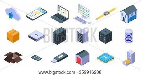 Storage Icons Set. Isometric Set Of Storage Vector Icons For Web Design Isolated On White Background
