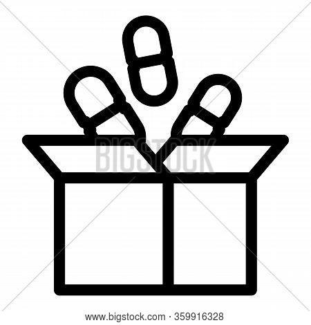 Pill Carton Box Icon. Outline Pill Carton Box Vector Icon For Web Design Isolated On White Backgroun