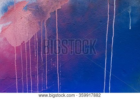 Plastered Wall Background With Colorful Drips, Flows, Streaks Of Paint And Paint Sprays