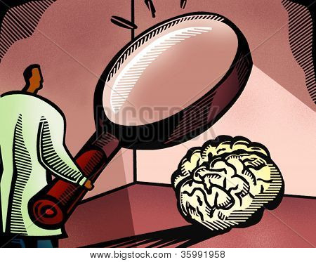 Doctor Looking At A Brain Through A Giant Magnifying Glass