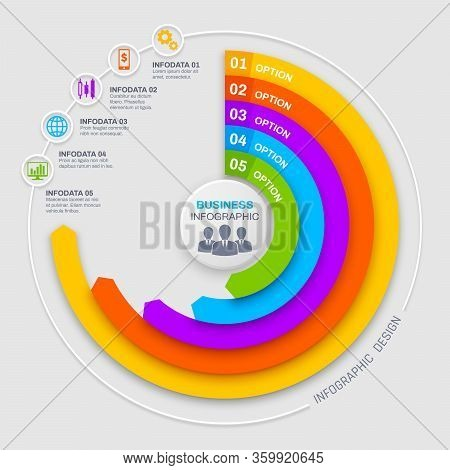 Business Infographics Round Vector Diagram, Chart Or Graph Options And Elements. Infodata Steps Visu