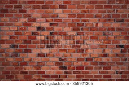 Red Brick Wall Texture Background. Old Red Vintage Pattern Wallpaper. Grunge Brick Wall Interior Bui