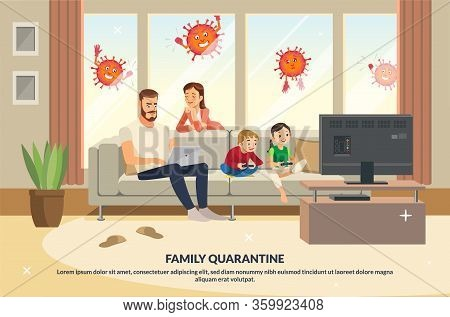 Coronavirus Trying Enter House Quarantine Family. Mother Care About Father, While Children Playing G