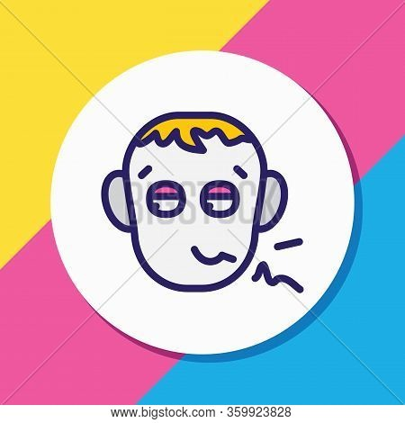 Vector Illustration Of Pathetic Icon Colored Line. Beautiful Emoticon Element Also Can Be Used As De