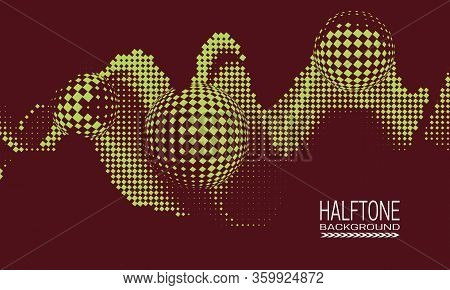 Abstract Vector Halftone Background Design With Texture Of Square Dots. Dark Red Green Printing Rast