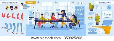 Business Meeting, Briefing And Teamwork. Coworker Character Constructor With Body Parts Bundle And I