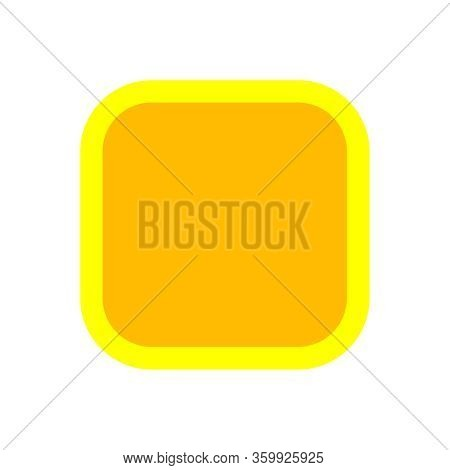 Button Square Shape Yellow For Buttons Games Play Isolated On White, Yellow Modern Buttons Square Si
