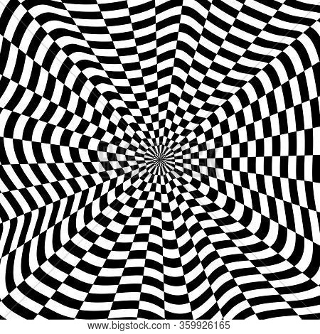 Abstract Black And White Checkered Background. Geometric Pattern With Visual Distortion Effect. Opti