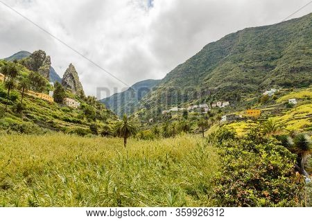 Roques De Pedro And Petra Behind A Beautiful Palm Tree Seen From The Valley In La Hermigua On La Gom