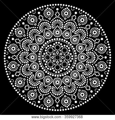 Mandala Vector Art, Australian Dot Painting White Design On Black, Aboriginal Folk Art Bohemian Styl