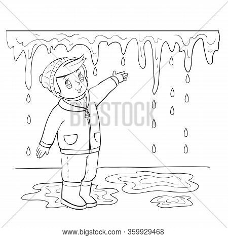 Spring Boy Tries To Reach The Icicle That Melts In The Sun, Outline Drawing, Coloring, Isolated Obje