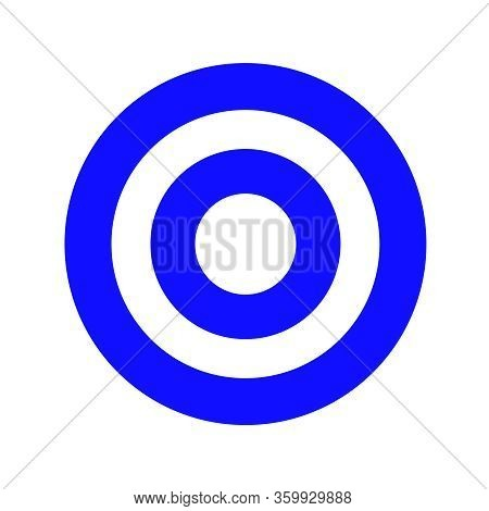 Blue Round Symbol Isolated On White, Circle Icon Blue For Shooting Target Arrow Aiming, Target For S