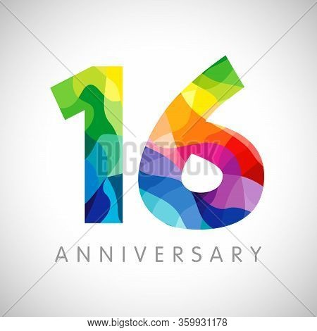 16 Th Anniversary Numbers. 16 Years Old Logotype. Bright Congrats. Isolated Abstract Graphic Web Des