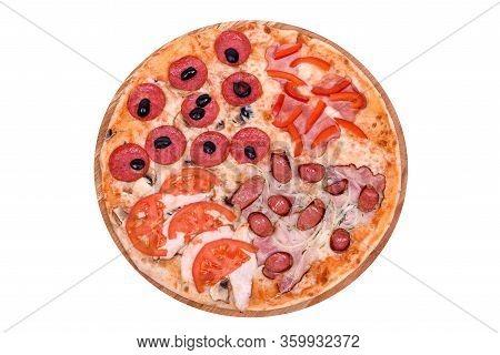 Pizza 4 Seasons On A Wooden Platter. Isolated On White. Restaurants Menu. Original Italian Pizza, To
