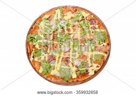 Pizza Caesar On A Wooden Platter. Isolated On White. Italian Pizza Caesar With Smoked Chicken Fillet