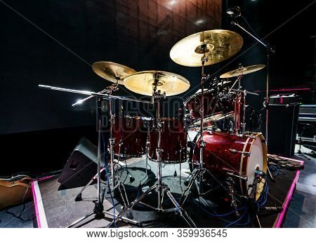 Set Of Drums And Microphones With Sound Portal On The Stage Before The Concert