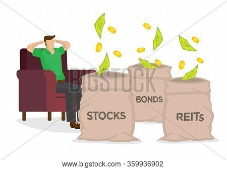 Money Falling From The Sky Into Three Sacks Of Stocks, Bonds And Reits While Resting On A Chair. Con
