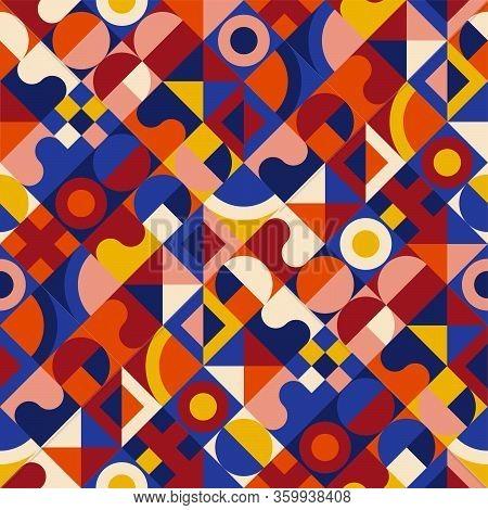 Geometric Seamless Pattern In Mid Century Style