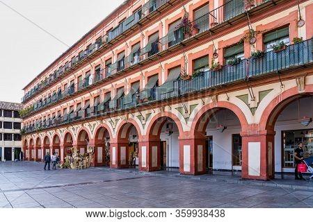 Cordoba, Spain - November 01, 2019: View Of Famous Corredera Square, Plaza De La Corredera In Cordob