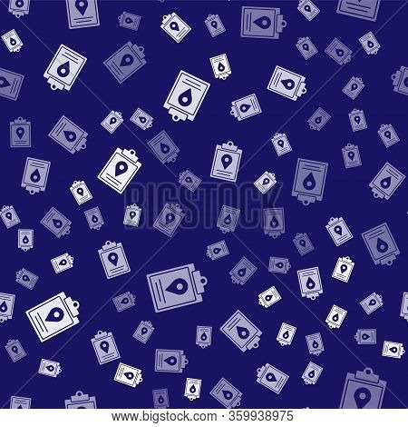White Document Tracking Marker System Icon Isolated Seamless Pattern On Blue Background. Parcel Trac